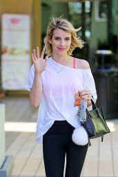 Emma Roberts in Leggings - Leaving a Yoga Class - June 2014