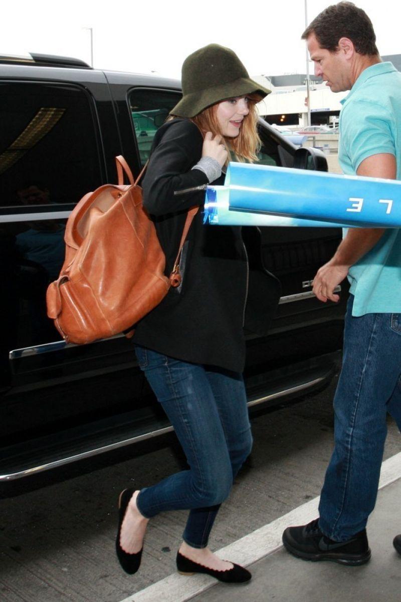 Emma Stone at LAX Airport - June 2014