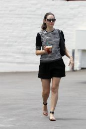 Emmy Rossum Leggy in Black Shorts - Out in Beverly Hills - June 2014