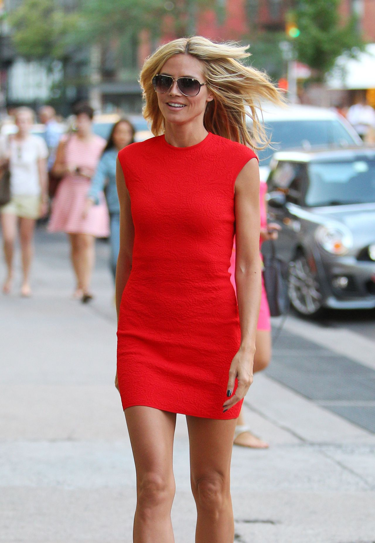 Heidi Klum in Red Dress - Out in New York City - June 2014