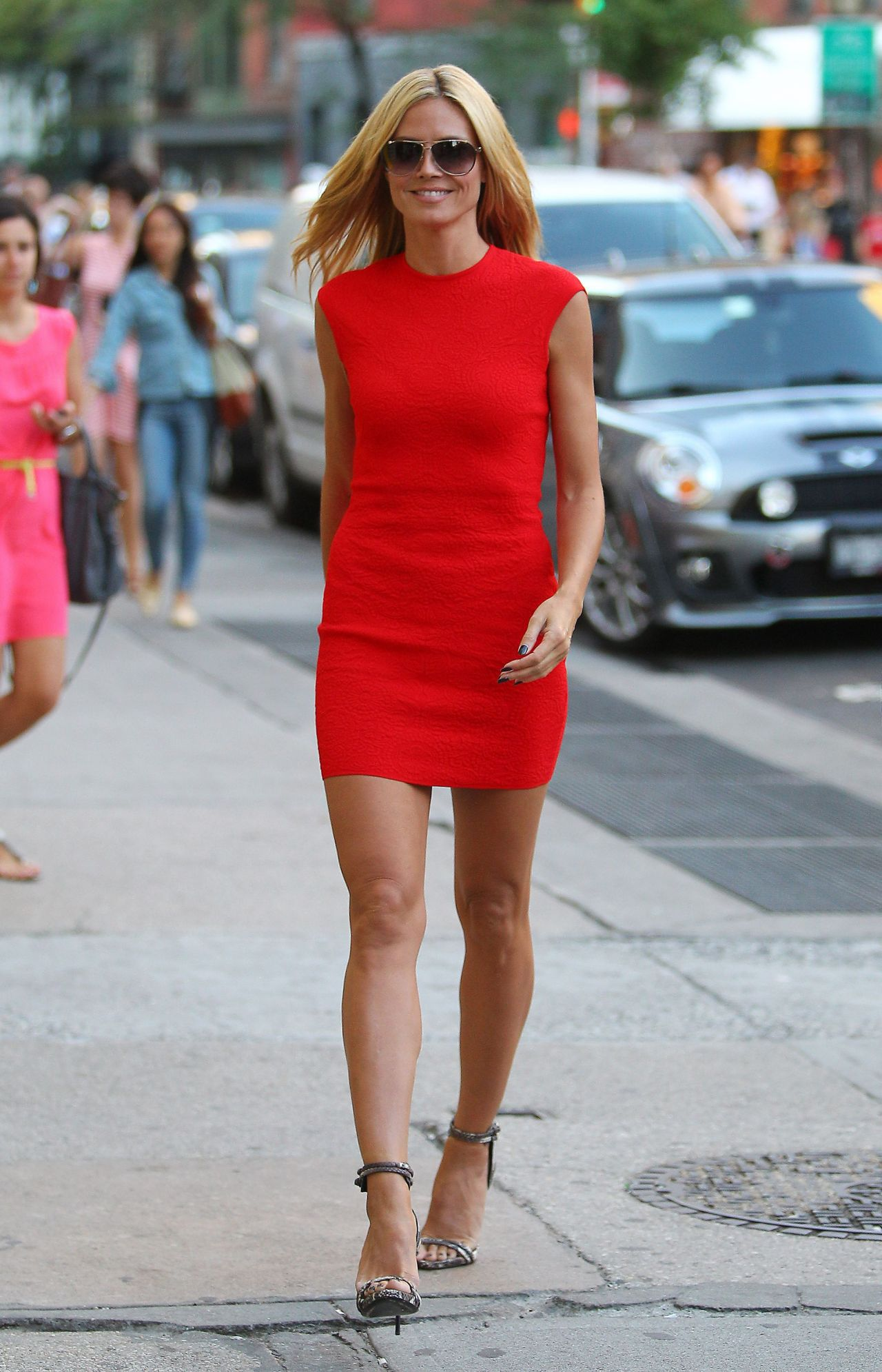 Heidi Klum In Red Dress Out In New York City June 2014