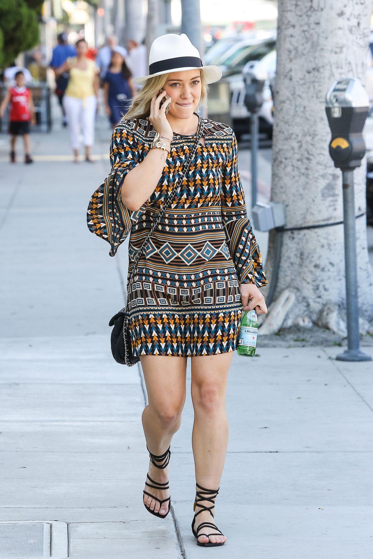 Hilary Duff In Mini Dress Out In Studio City June 2014