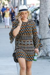 Hilary Duff in Mini Dress - Out in Studio City - June 2014