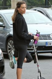 Hilary Swank in Tights While out in Paris - June 2014