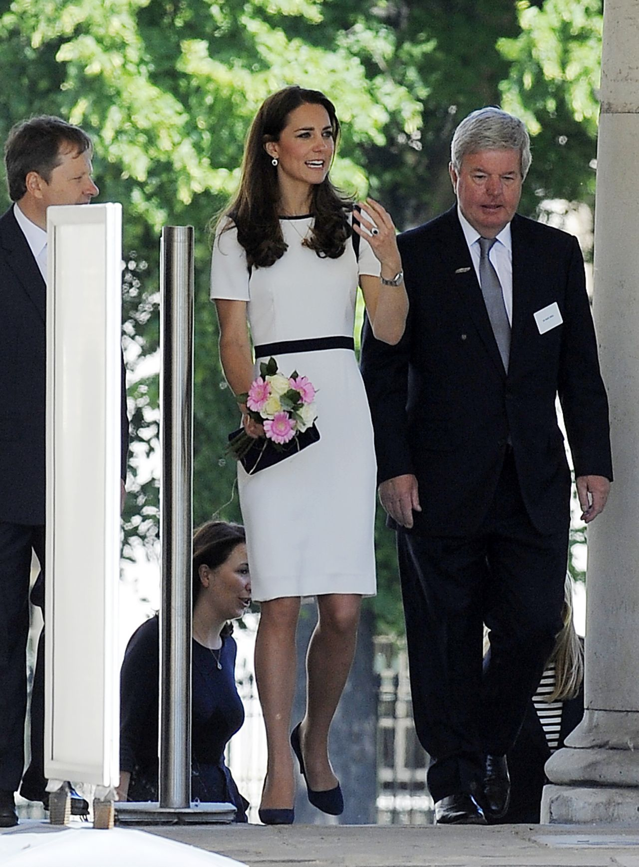 Kate Middleton Wearing Jaeger Dress Visits The National Maritime Museum In Greenwich