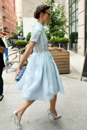 Keira Knightley Wearing Prada Dress - Arriving at Downtown Hotel in New York City