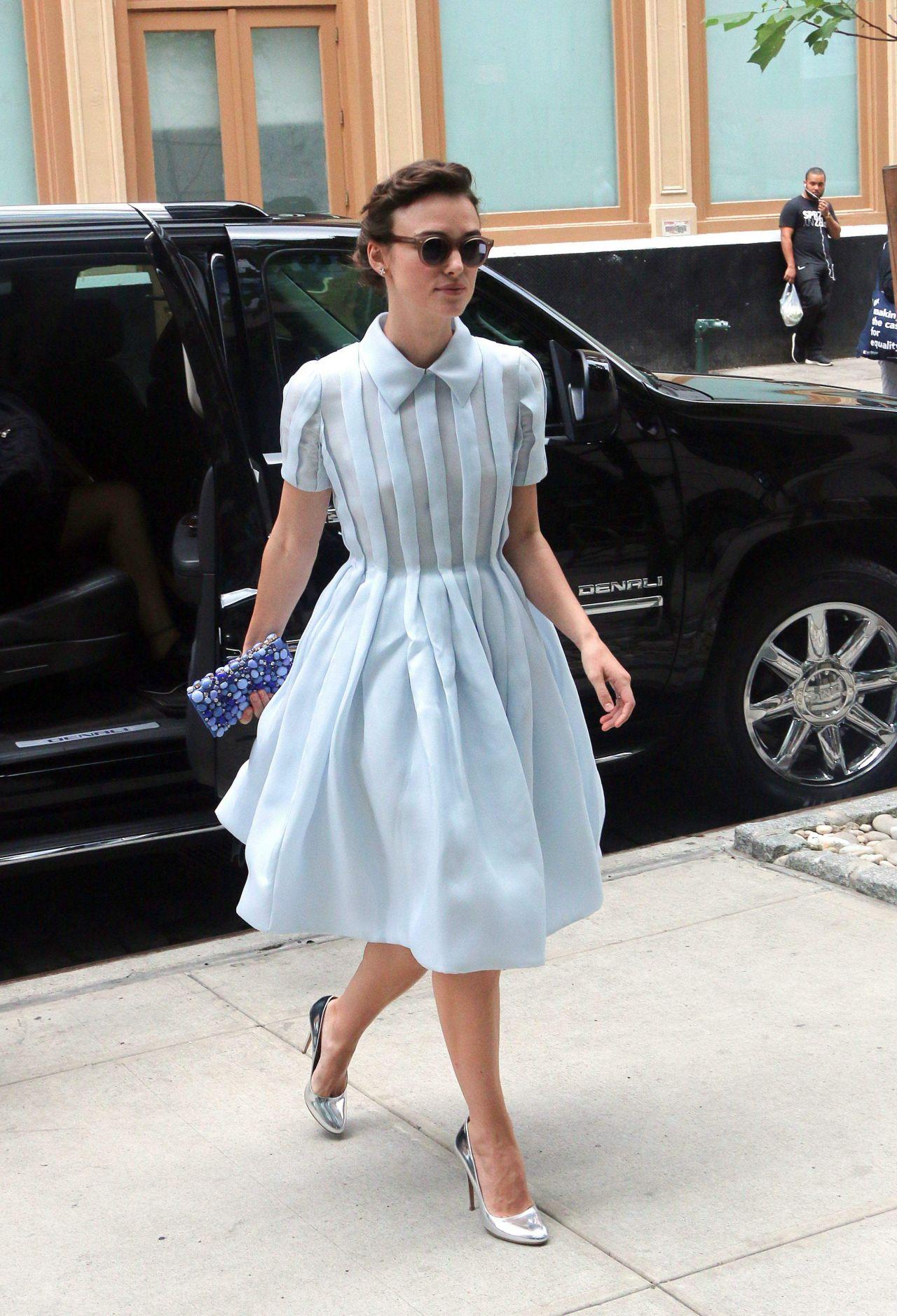 Keira Knightley Wearing Prada Dress Arriving At Downtown
