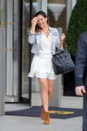 Kelly Brook in Mini Skirt - Leaving the Shangri-La Hotel in London - June 2014