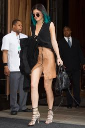Kylie Jenner Shows Off Her Legs in Mini Skirt Leaving the Trump Soho Hotel in NYC - June 2014