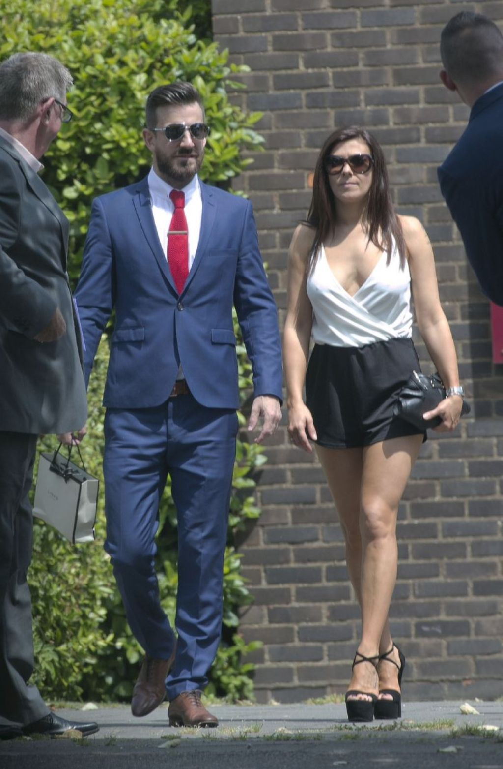 Kym Marsh & Dan Hooper at Christening - in Monochrome Playsuit and Huge Black Heels - June 2014