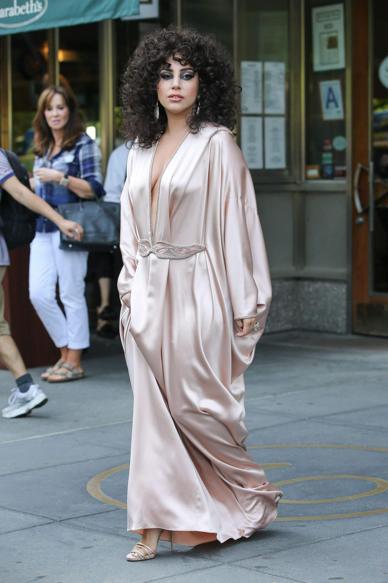 Lady Gaga in Pink Silk Dressing Gown Leaves Her apartment in New ...