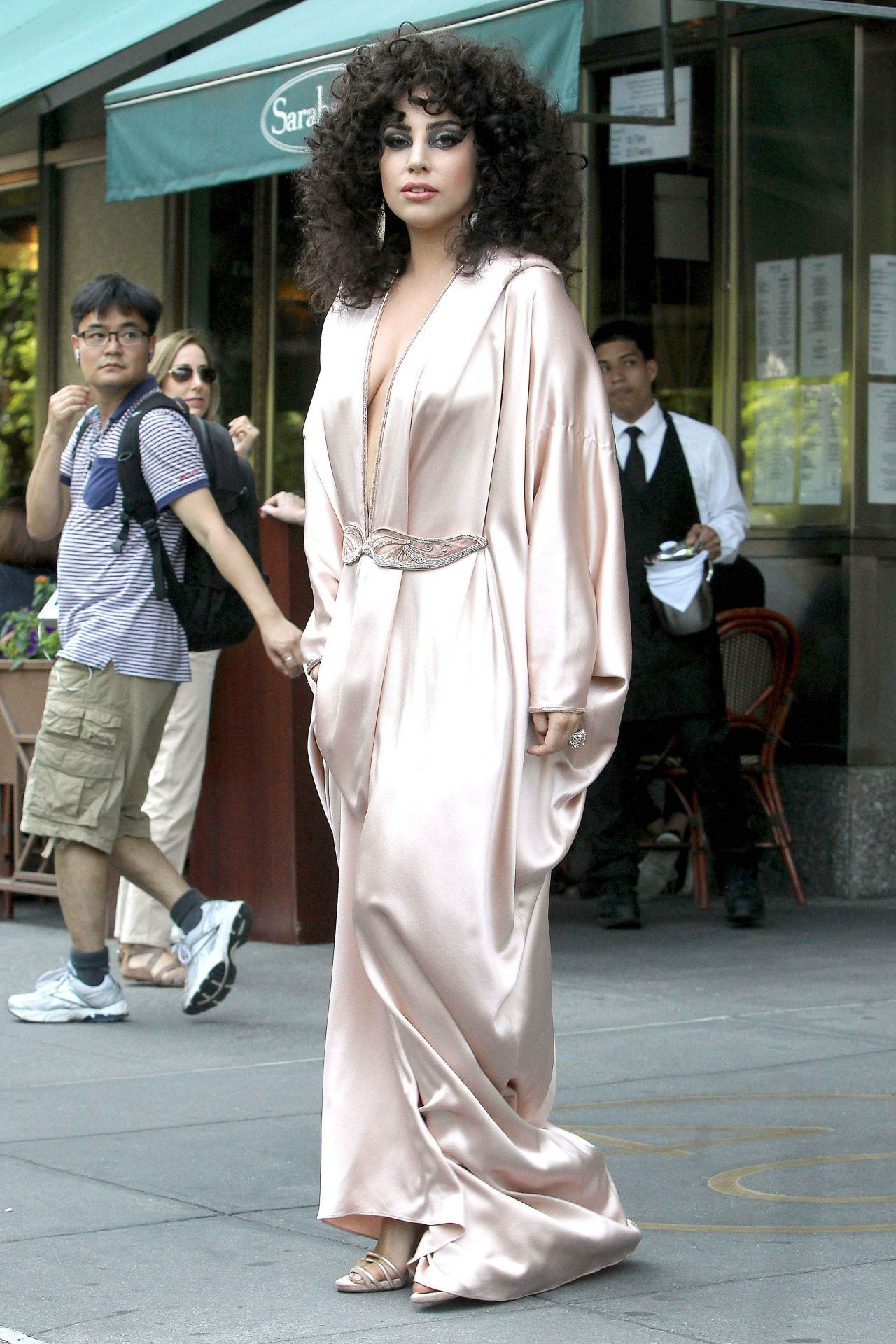 Lady Gaga In Pink Silk Dressing Gown Leaves Her Apartment