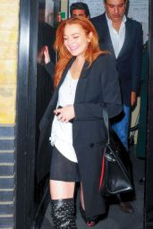 Lindsay Lohan in Short Skirt & Boots - Chiltern Firehouse - June 2014