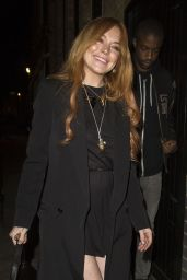 Lindsay Lohan Night Out Style - Chiltern Firehouse Restaurant in Lodon - May 2014