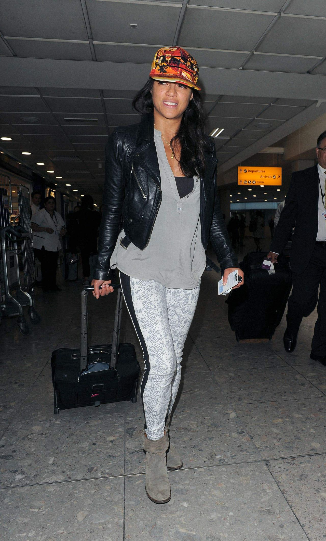 Michelle Rodriguez Arrives at Heathrow Airport in London - June 2014