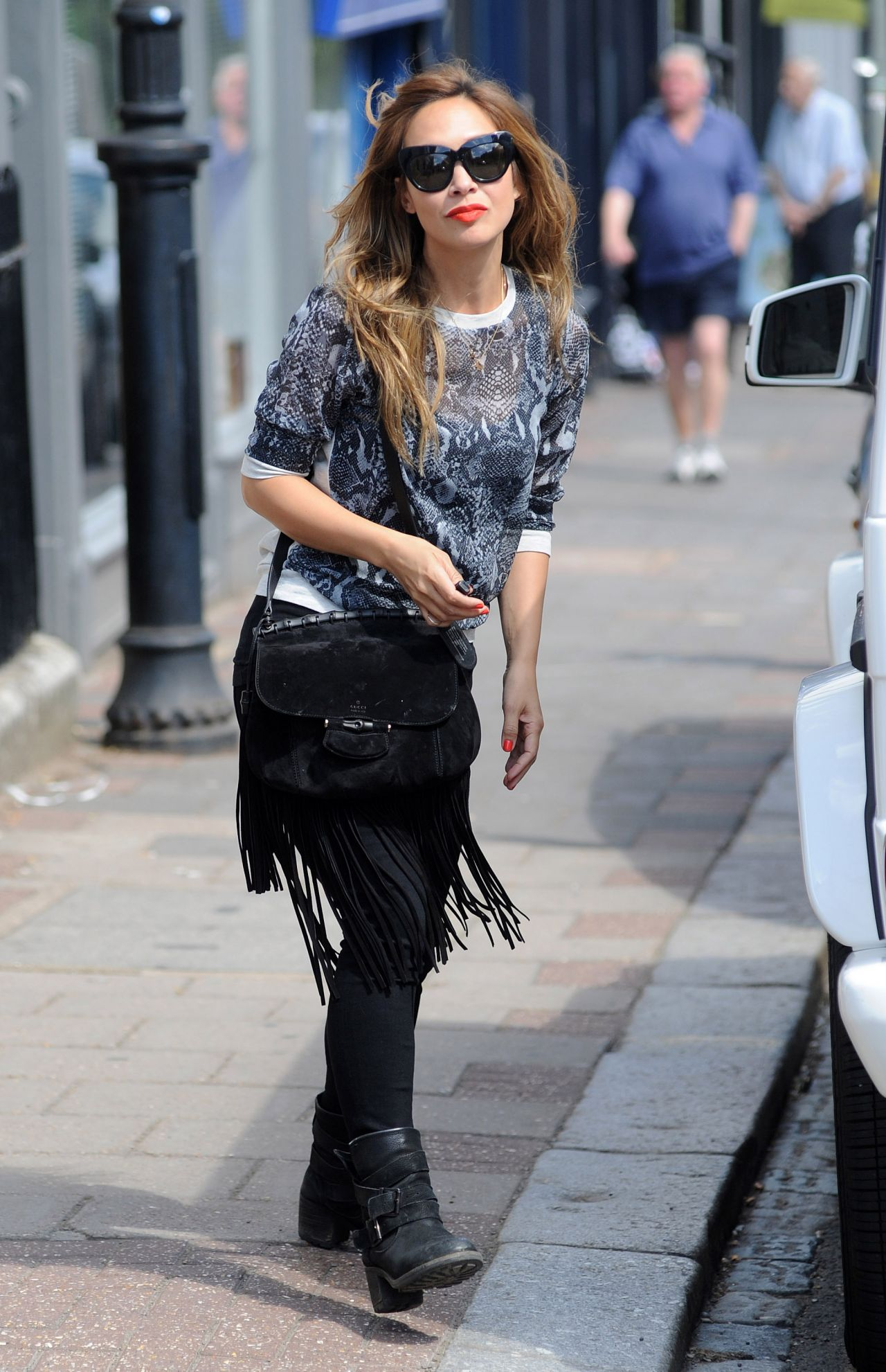 Myleene Klass Street Style - on a School Run in London - June 2014