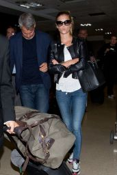 Nina Agdal in Jeans at LAX Airport in Los Angeles - June 2014