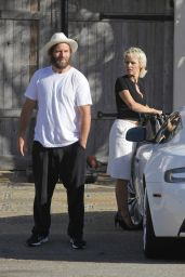 Pamela Anderson and Her New Aston Martin - Visiting a Friend