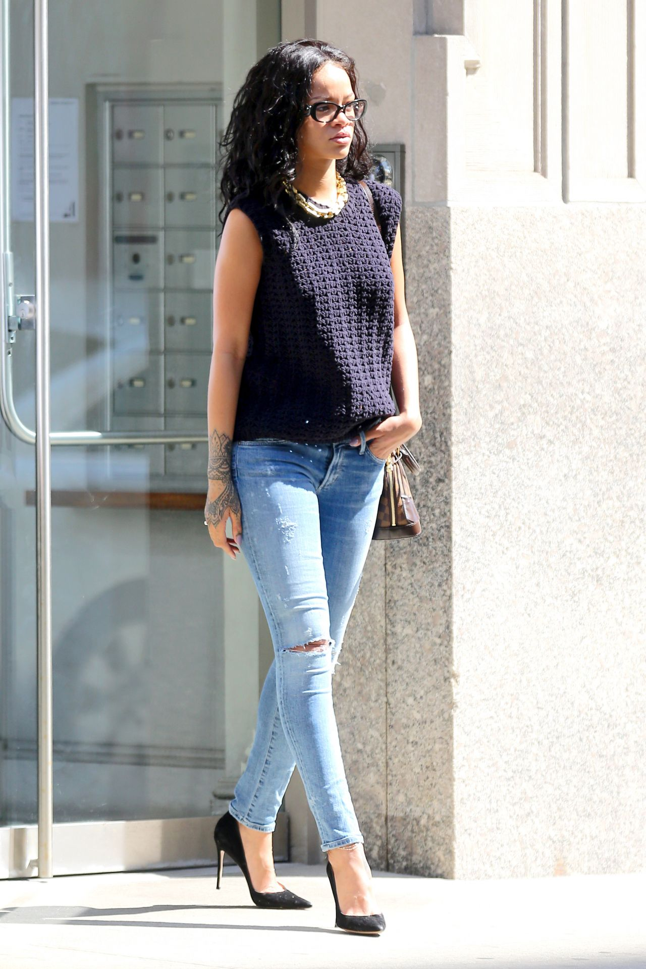 Rihanna In Jeans Out In New York City June 2014