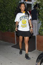 Rihanna Night Out Style - Leaving Giorgio Baldi Restaurant in Los Angeles - June 2014