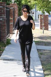 Selena Gomez Street Style - Wearing Leggings and Boots Out in Los Angeles - June 2014