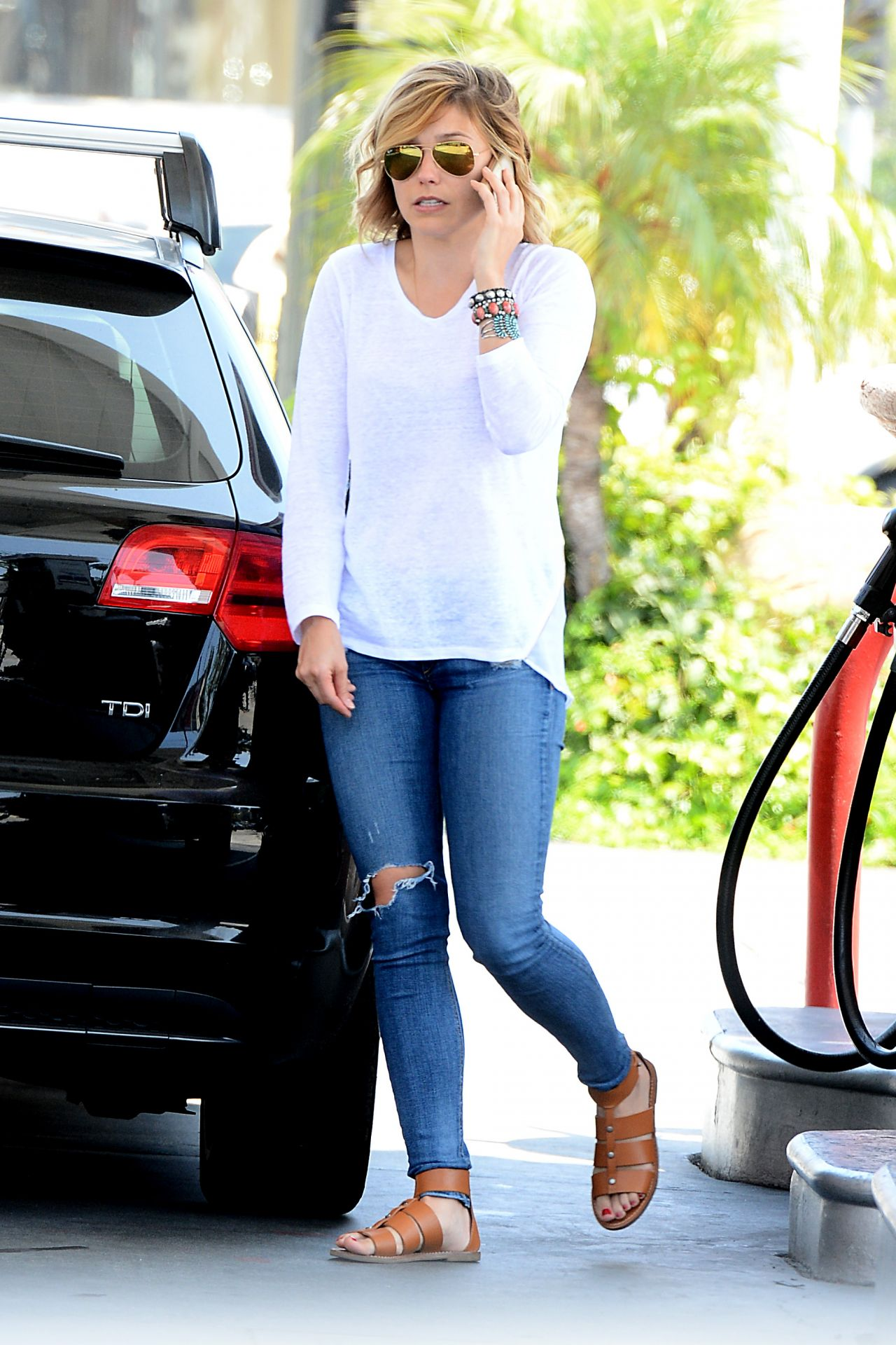 Sophia Bush in Ripped Jeans at a Gas Station in Westwood - June 2014