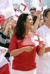 Susanna Reid in England Football Shirt Filming World Cup Song