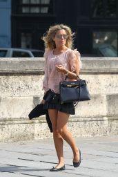 Sylvie Meis in Mini Skirt - Out in Paris - June 2014