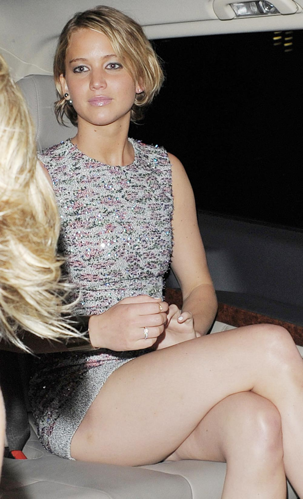 Jennifer lawrence awesome legs leaving dior party paris july