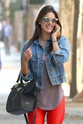Alessandra Ambrosio in Red Leggings Going to Pilates Class in Santa Monica - July 2014