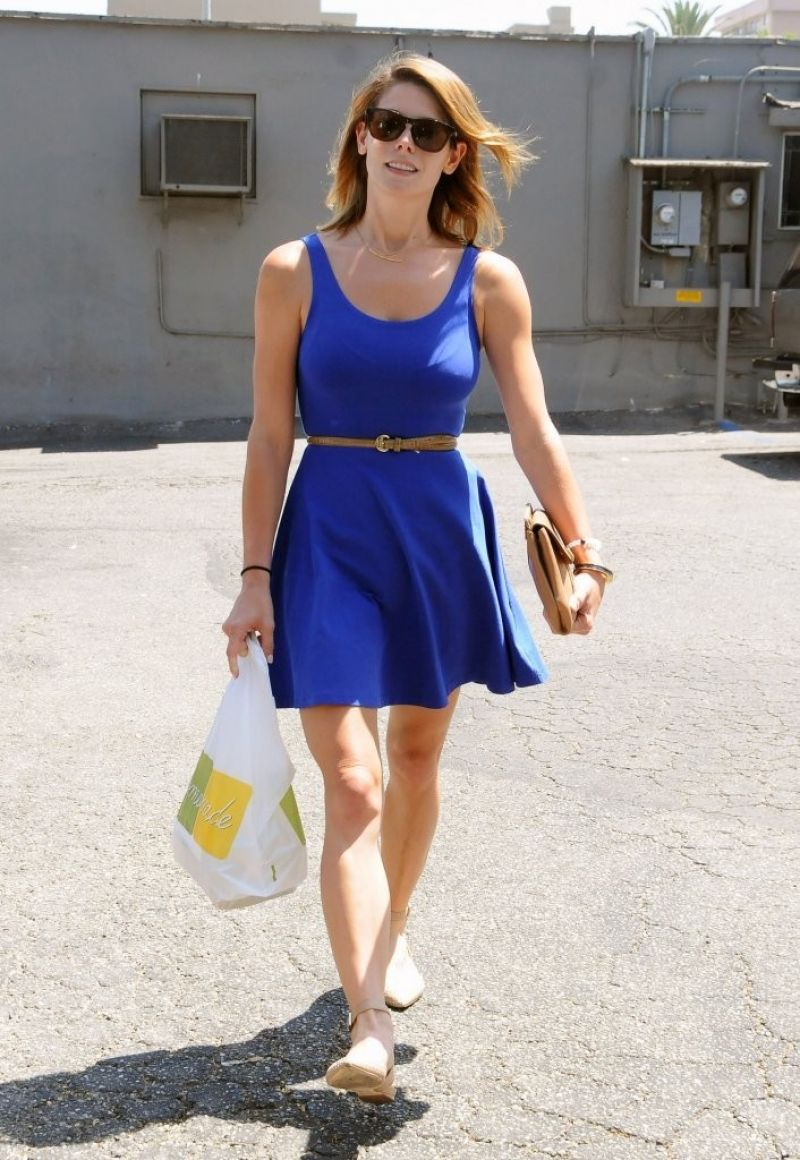 Ashley Greene In Blue Mini Dress Out In West Hollywood