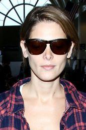 Ashley Greene Wears Plaid Shirt - LAX Airport, July 2014