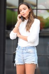 Ashley Madekwe in Denim Shorts - Outside the Bowery Hotel in NYC - July 2014