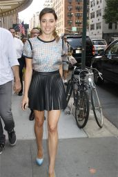 Aubrey Plaza is Hot in Mini Leather Skirt - Out in New York City, July 2014
