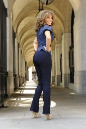 Carol Vorderman Posing for the 2014 Rear of the Year July 2014
