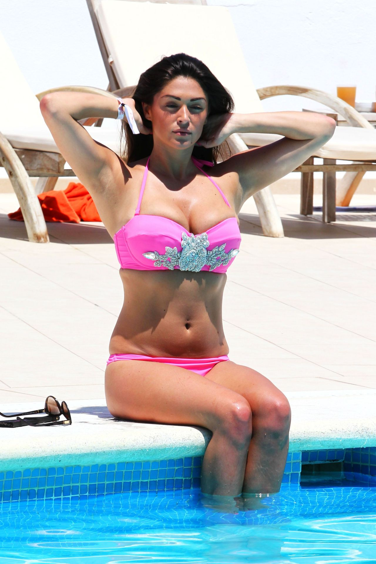 Casey Batchelor in a Bikini Poolside in Ibiza - July 2014
