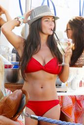 Casey Batchelor Parties in Red Bikini at Ibiza - June 2014