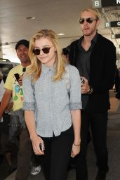 Chloe Moretz With Her Brother Trevor at LAX airport - July 2014