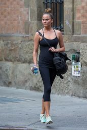 Chrissy Teigen in Leggings - Going to a Gym, New York City - July 2014