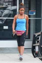 Christina Milian in Tights - Outside a Gym in Sherman Oaks - July 2014