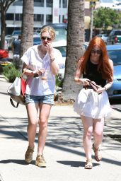 Dakota Fanning in Denim Shorts - Out in Studio City - June 2014