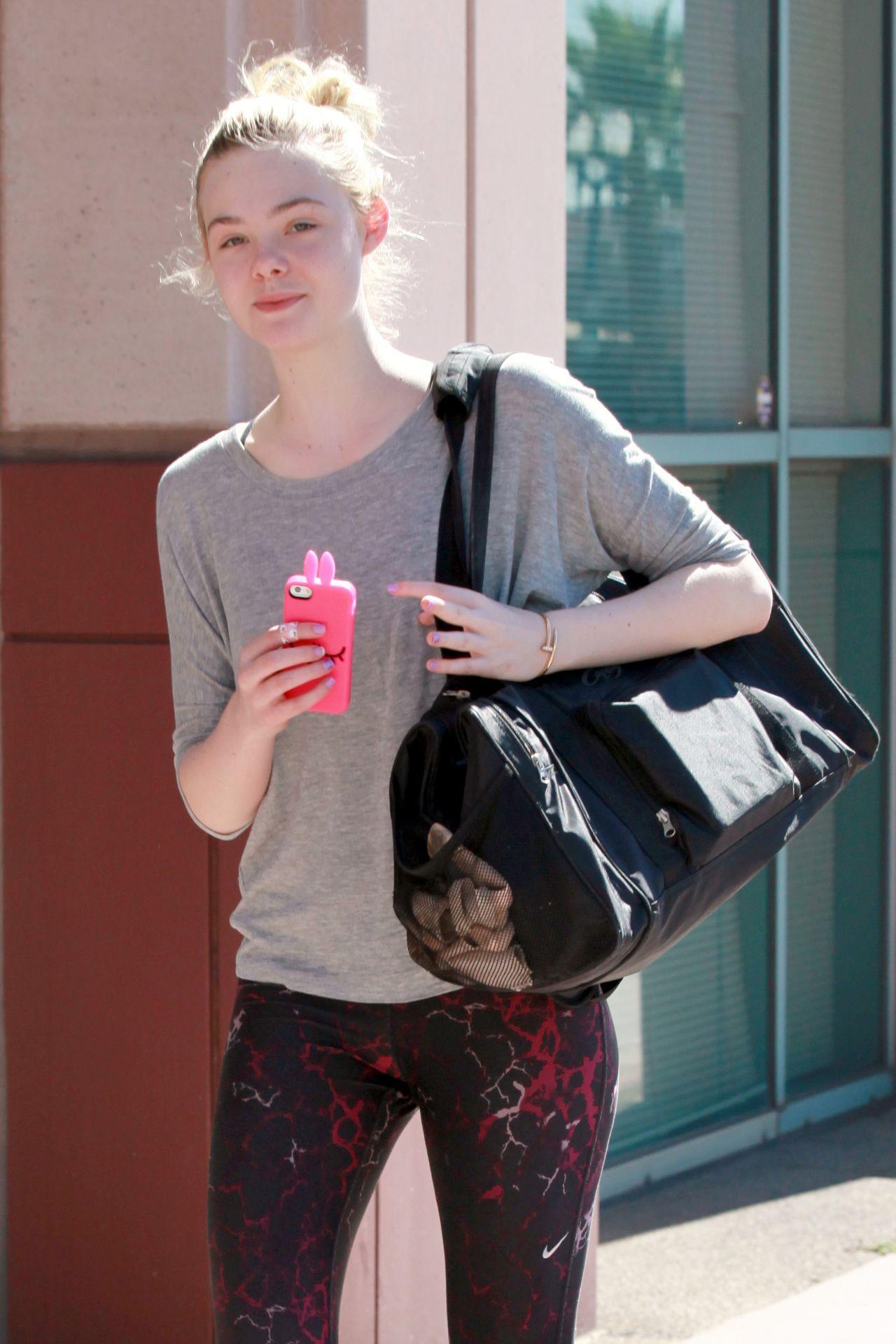 Elle Fanning in Leggings Heading to Dance Class in Studio City - July 2014