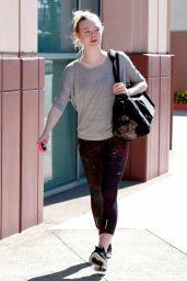Elle Fanning in Leggings Heading to Dance Class in Studio City - July 2014