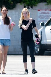 Elle Fanning in Leggings - Leaving the Gym in Los Angeles - July 2014