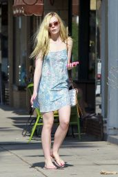 Elle Fanning in Mini Dress - Leaving a Nail Salon in Studio City, July 2014