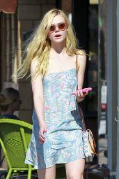 Elle Fanning in Mini Dress - Leaving a Nail Salon in Studio City, July 2014