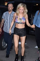Ellie Goulding in Leather Shorts - Out in Warsaw - July 2014