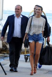 Emily Ratajkowski in Jeans Shorts - Arriving in Ischia (Italy) - July 2014