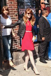 Emma Stone in Red Mini Dress at the