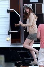 Emma Stone on a Film set in Newport - Rhode Island, July 2014